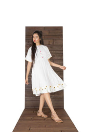 Women White A-Line Dress With Sunflower Embroidery - Suman Nathwani
