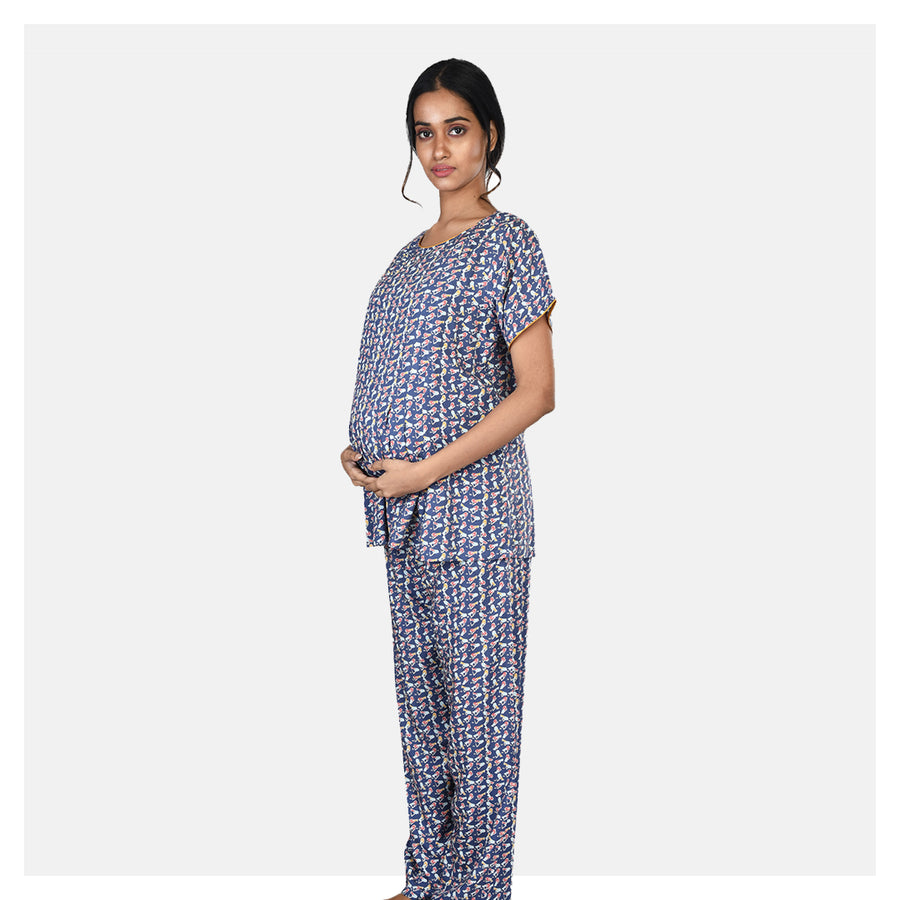 Women Navy Blue Cotton Rayon Comfortable Feeding Night Suit