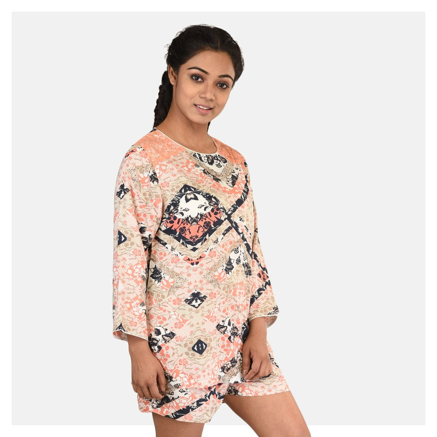 Women Abstract Print Top and Short Cotton Rayon Night Suit