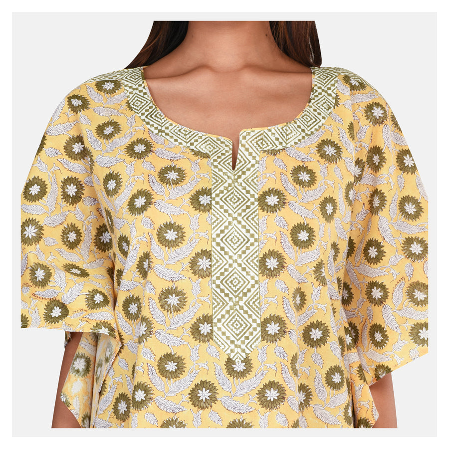 Women Sunflower Yellow Cotton Kaftan