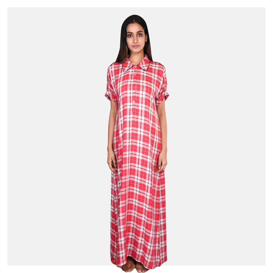 Women Red and White Check Printed Cotton Rayon Nighty