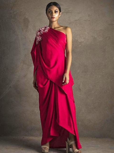 Women Red Off-Shoulder Gown With 3D Embroidered Flowers