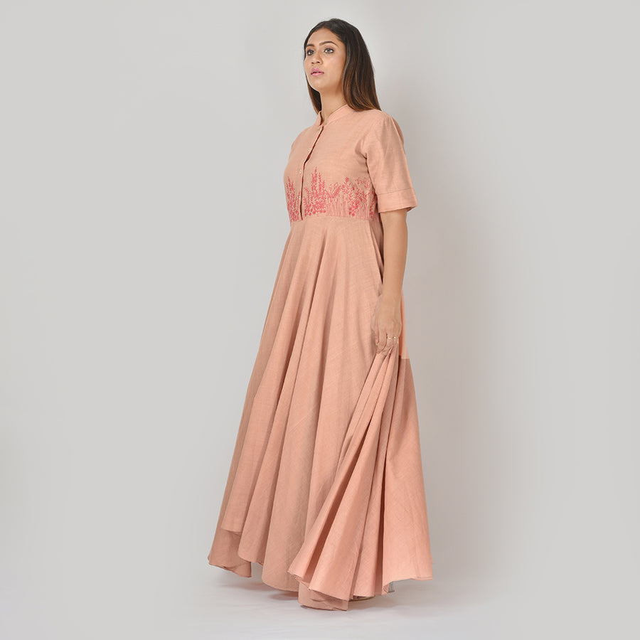 Women Yolk Cut A-Symmetric Hemline Long Dress