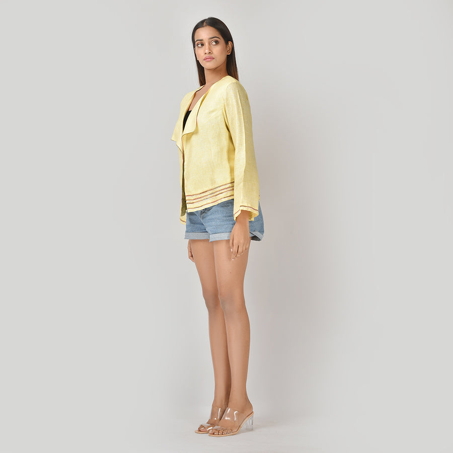 Women Yellow Linen Easy Jacket
