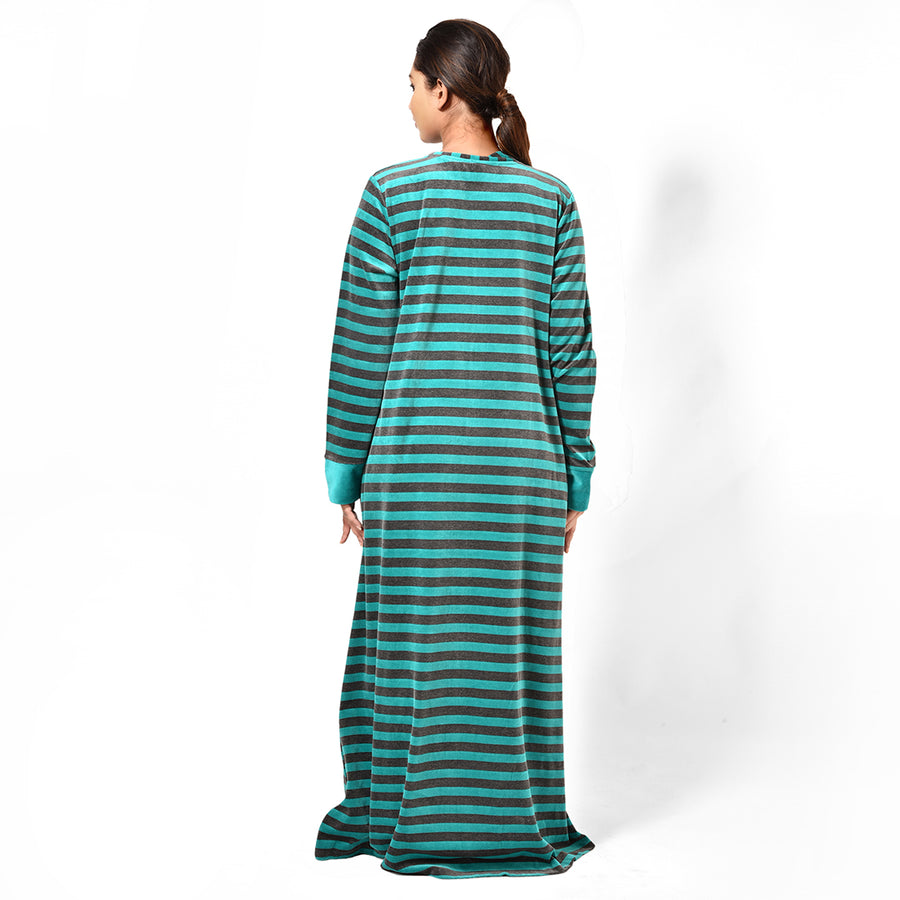 Woman Green Striped Hand Embroidery Fleece Nighty