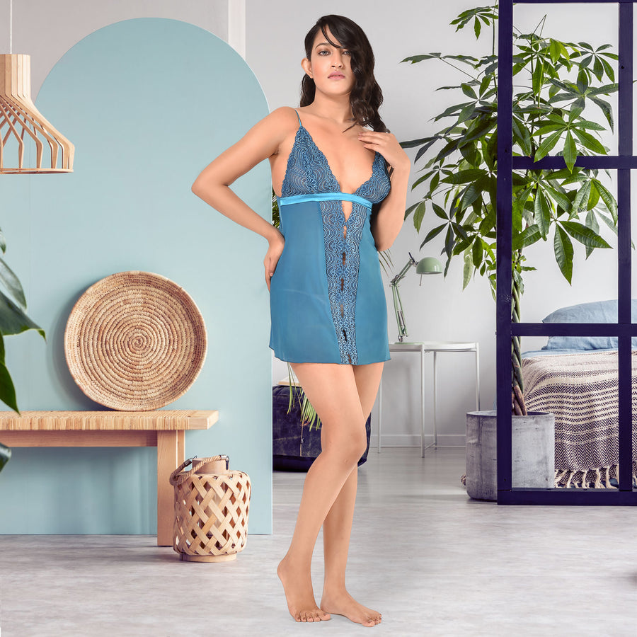 Women Blue Italian Mesh Spaghetti Statement Sleepwear