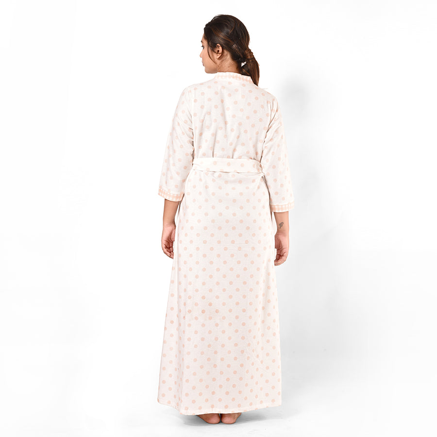 Women Off White And Pink Polka Brush Cotton Gown For Winters