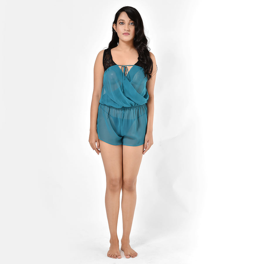 Women Ice Emerald Green Georgette Playsuit