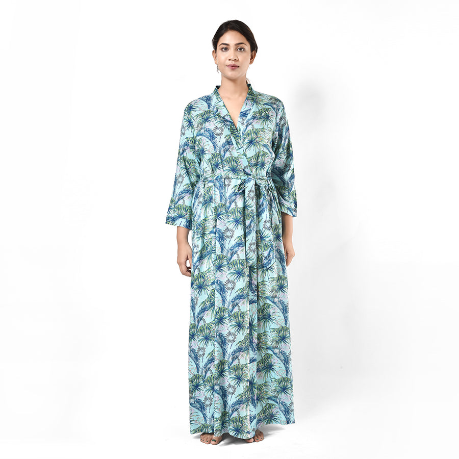 Woman Green Leaf Print Cotton Rayon Robe