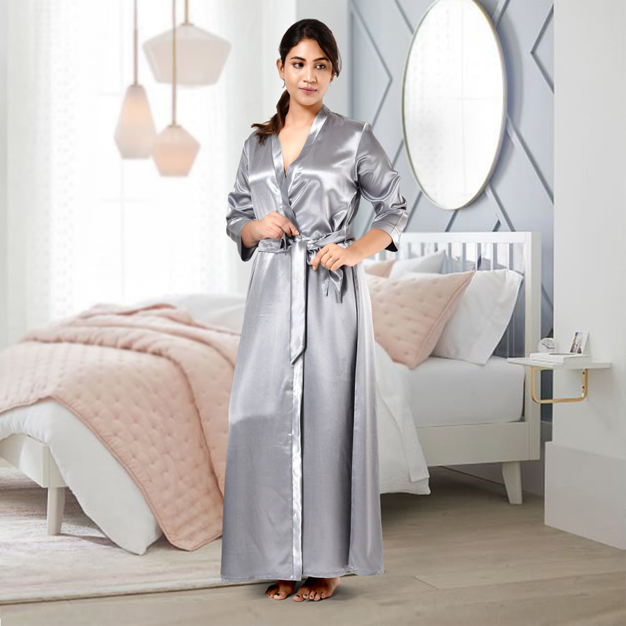 Woman Steel Grey Color Satin Robe