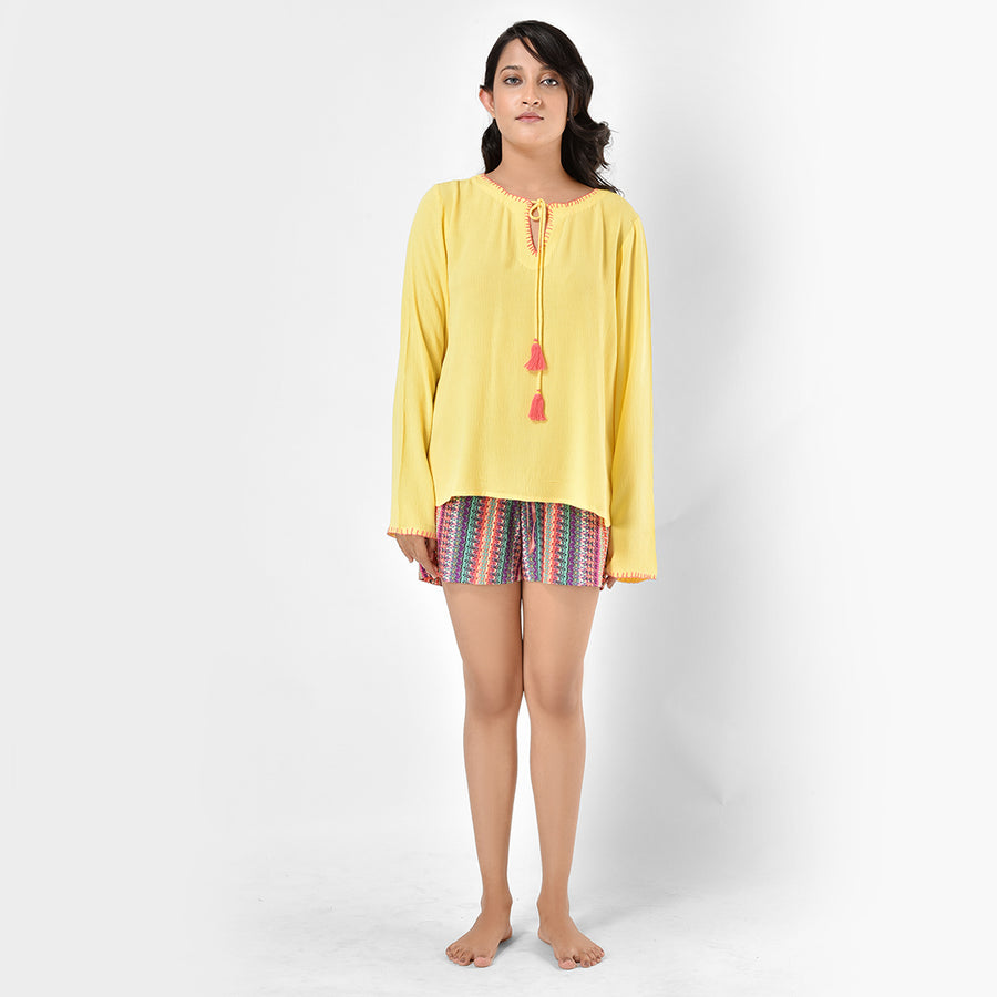 Women Yellow And Multi Printed Cotton Rayon Top And Shorts