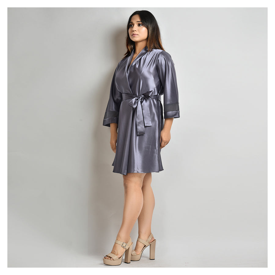 Woman Grey Color Short Robe