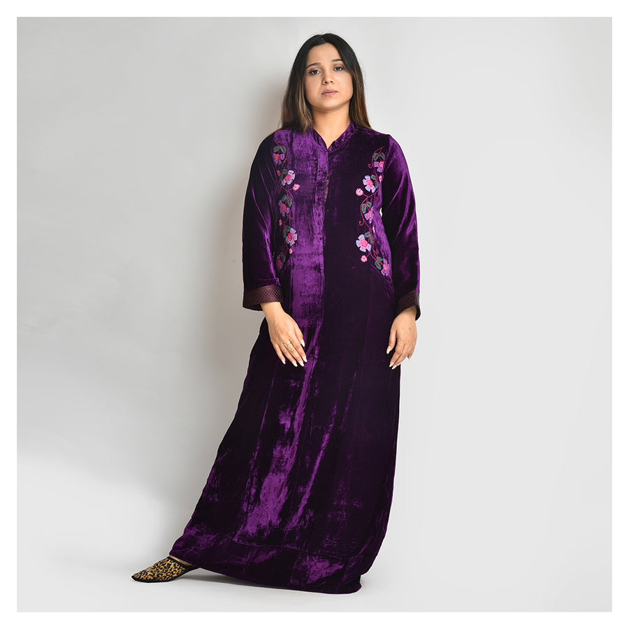 Woman Purple Hand embroidery Velvet Nighty - For Extreme Winters