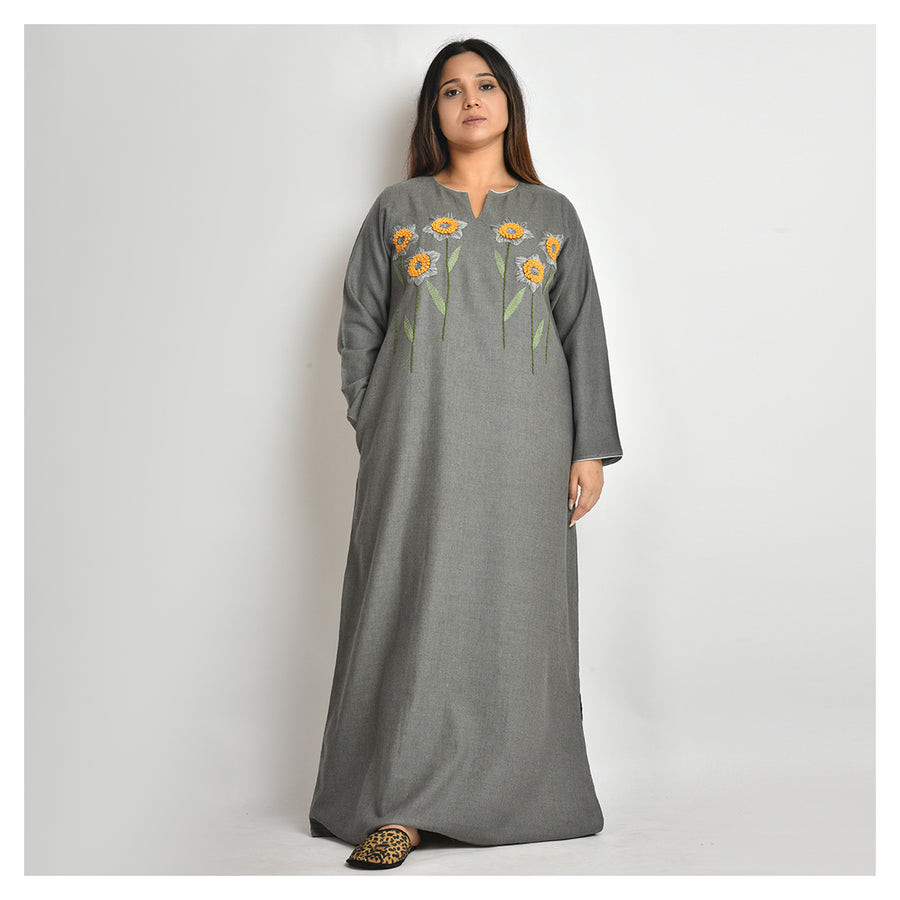 Woman Greneesh Grey Hand Embroidery Broad Cloth Cotton Nighty For Mild & Extreme Winters