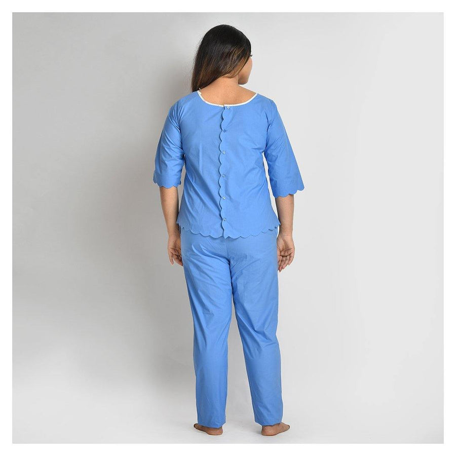 Women Blue Scalloped Cotton Night Suit - Suman Nathwani
