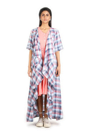 Women Check Linen Jacket With Short Khadi Dress - Suman Nathwani