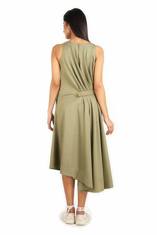 Women Olive Green One Side Gathered Dress