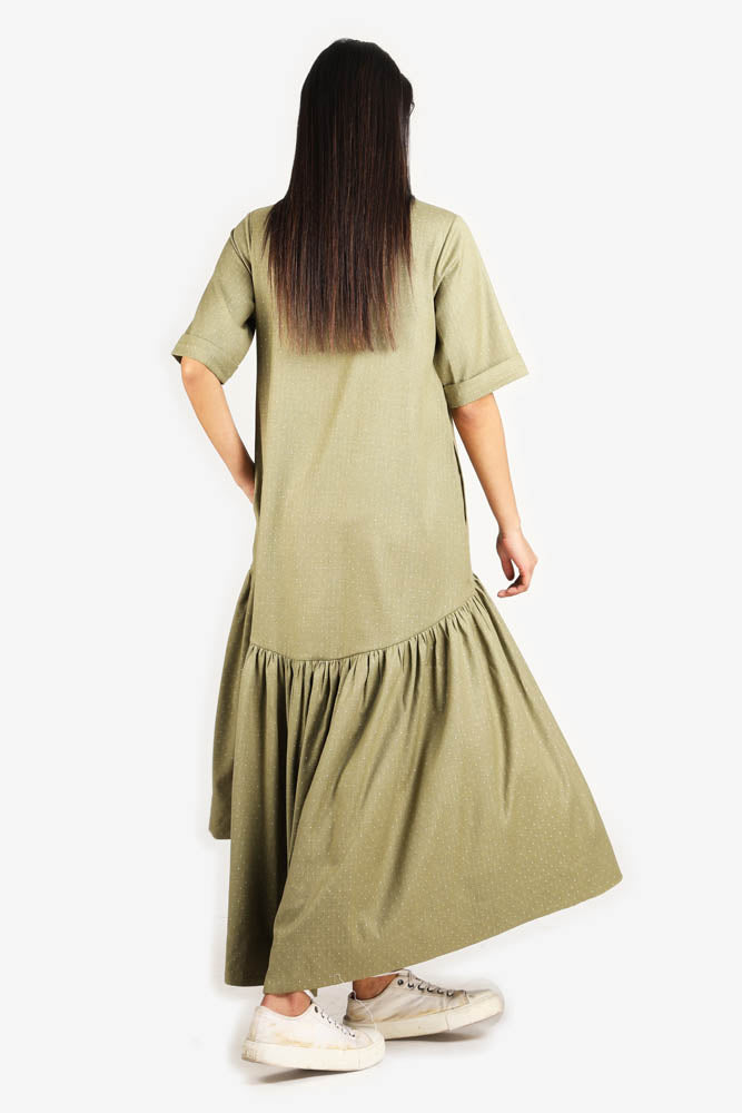 Women Olive Green Dress With Gathers In The Botton