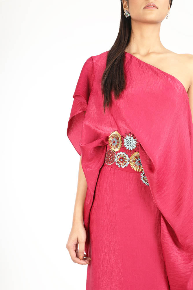 Women Fuchsia Pink Off Shoulder Dress With A Embellished Belt