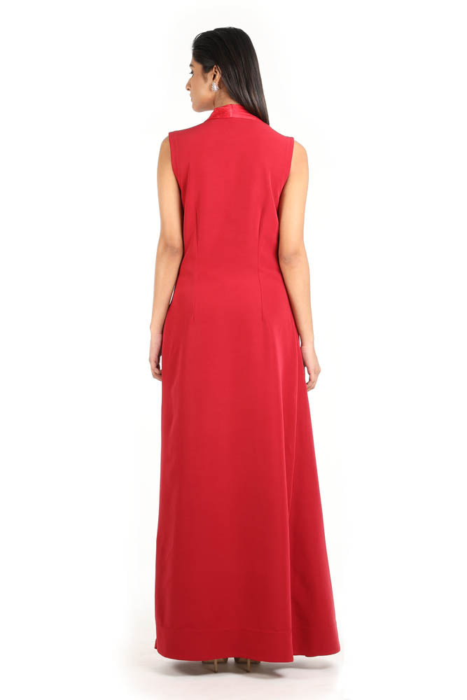 Women Deep Red Draped Sleeveless Dress