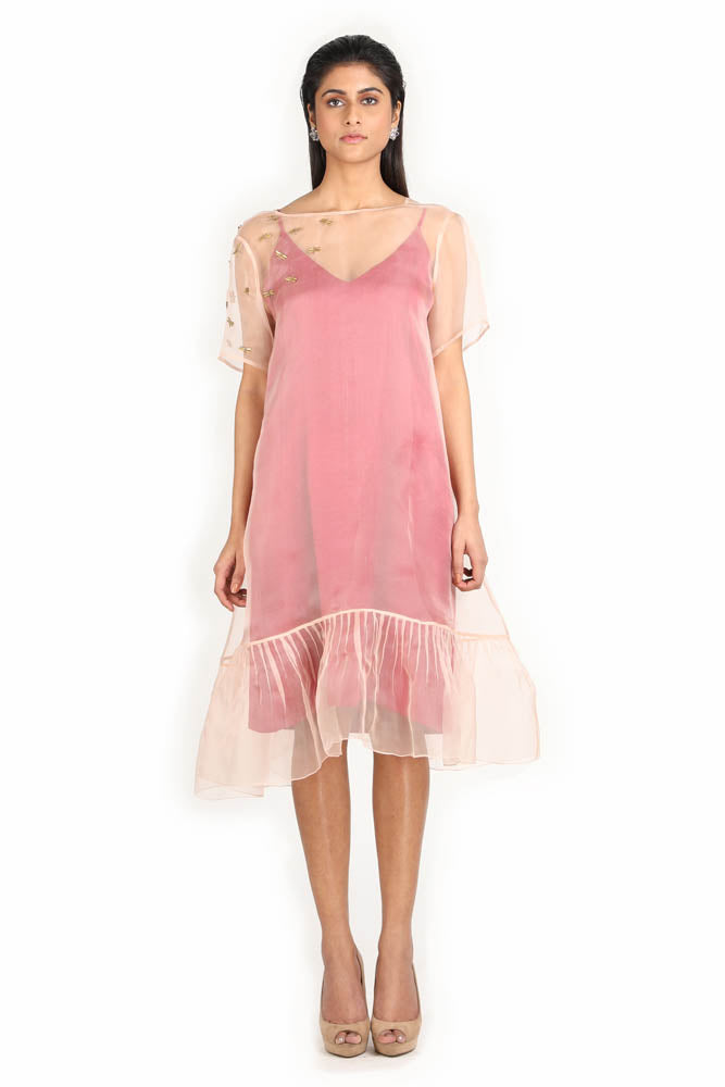 Women Double Layered Short Dress With Our Statement Dragonfly Embroidery