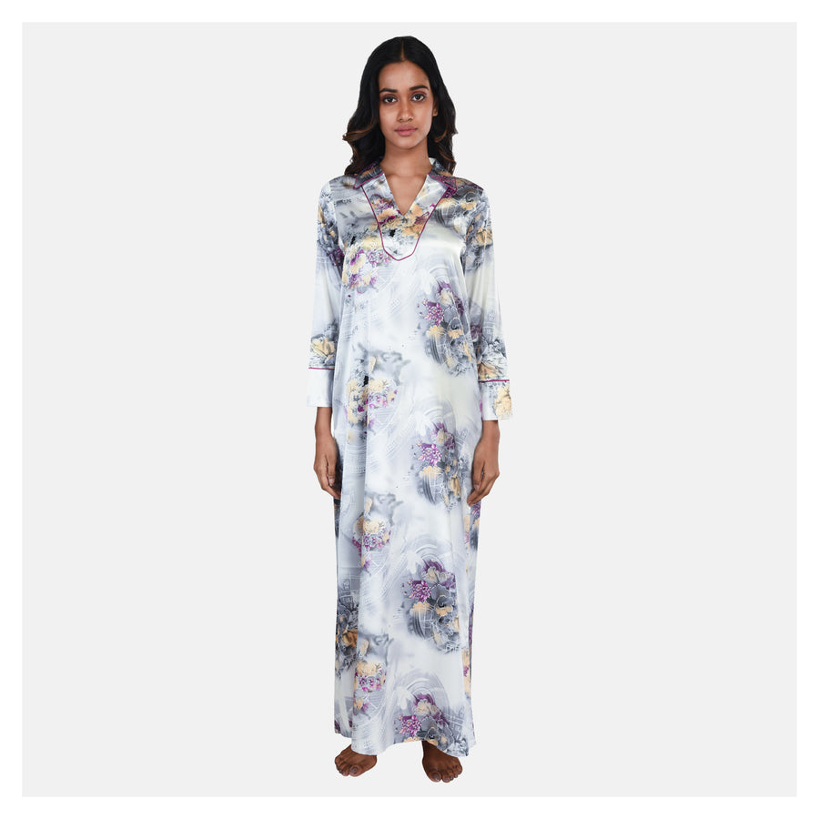 Women Grey Printed Stylish Maxi Satin Nighty