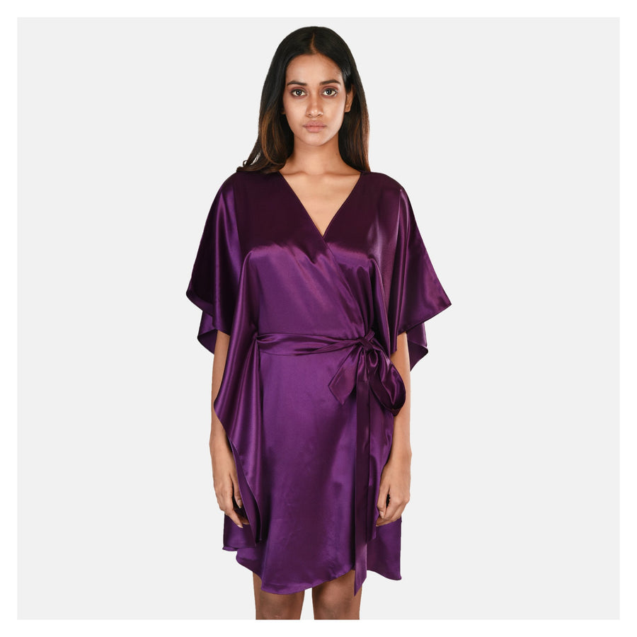 Women Purple Korean Satin Short Night Gown Set