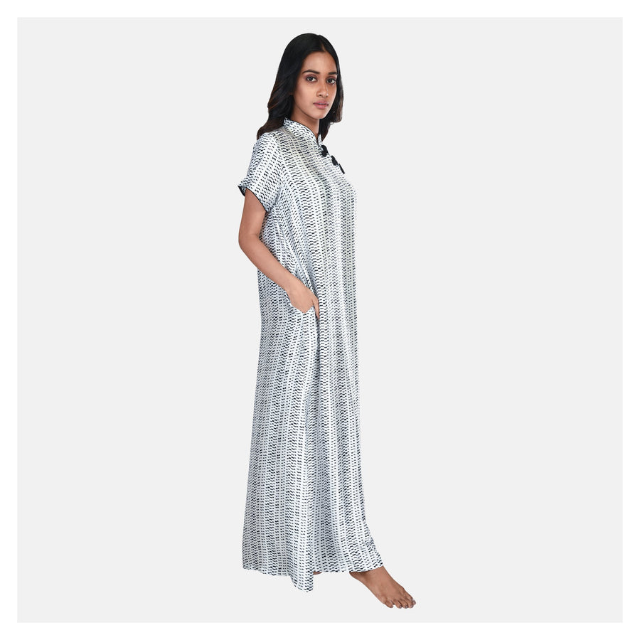 Women Black & White Mandarin Collar Satin Nighty - Suman Nathwani