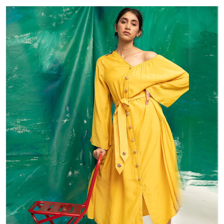 Women Off-shoulder Yellow Dress With Quirky Buttons
