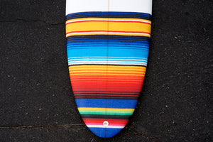 "7'2"" Poacher Surfboard with Mexican Blanket Tail Patch (Poly)"