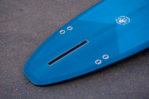 "7'6"" Ultimate Fiberglass Performance Longboard with Dark Blue Opaque Tint"