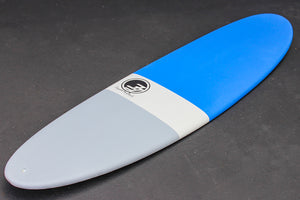 "7'2"" Poacher Funboard Surfboard Blue Dip (Hybrid Epoxy Softtop)"