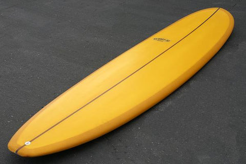 8' Ultimate Longboard Surfboard with Darkwood Stringer and Honey Orange Resin Tint (Poly)