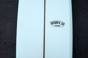 "8'6"" Ultimate Longboard Surfboard with Darkwood Stringer and Aqua Resin Tint (Poly)"
