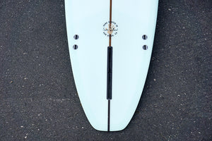 9' Ultimate Longboard Surfboard with Darkwood Stringer and Aqua Resin Tint (Poly)