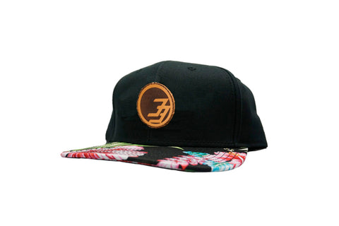 Degree 33 Aloha Print Leather Circle Logo Snapback Hat