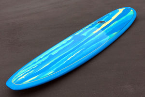 9' Ultimate Longboard Surfboard Blue Abstract Resin Tint Gloss and Polish (Poly)