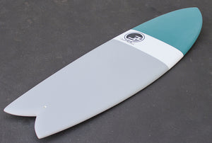 "5'8"" Codfather Fish Surfboard Teal Dip (Epoxy)"