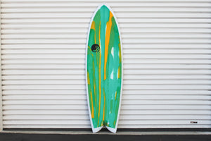 6' Codfather Fish Surfboard Green Oside Abstract (Poly)