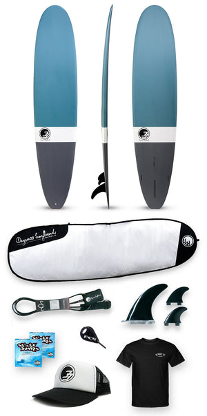 Ride33 Surfboard Package - 9' Surfboard, Bag, Leash, Fins and Accessories