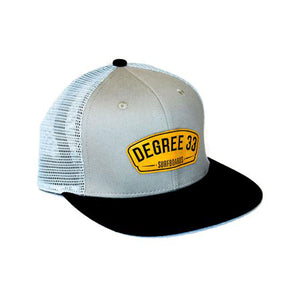 Degree 33 Grey with Leather Script Logo Snapback Hat