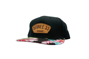 Degree 33 Aloha Print Leather Script Logo Snapback Hat