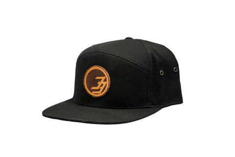 Degree 33 Black with Leather Circle Logo 5 Panel Hat