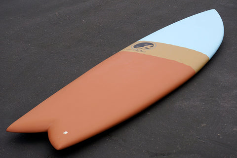 "5'8"" Codfather Fish Surfboard Tri Dip Clay (Epoxy)"