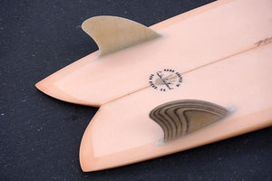 "5'8"" Codfather Fish Surfboard Keel Fins and Coral Resin Tint (Poly)"