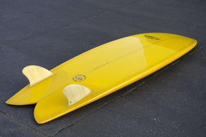 "5'8"" Codfather Fish Surfboard Bamboo Keel Fins and Yellow Resin Tint & Polish (Poly)"