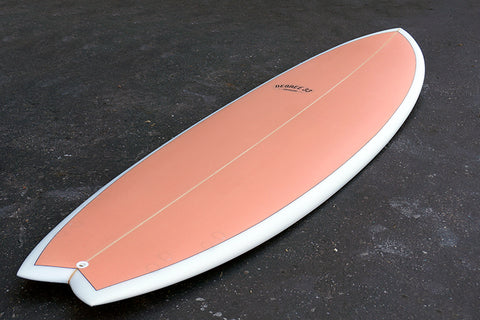 "6'10"" Easy Rider Fish Surfboard Coral & White Rails and Pinline (Poly)"
