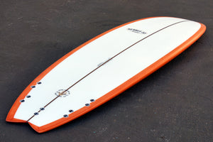 "7'2"" Easy Rider Fish Surfboard Orange Reverse Cutlap Resin Tint (Poly)"
