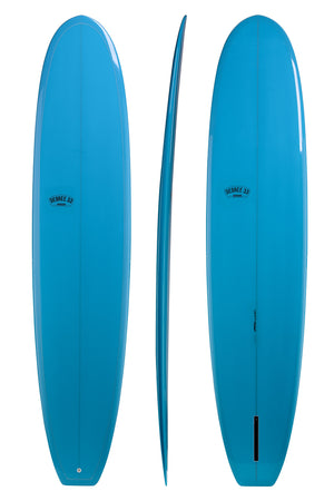 "9'4"" Classic Longboard Surfboard Blue Resin Tint Gloss and Polish (Poly)"