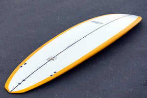 "7'6"" Over Easy Surfboard Honey Gold Reverse Resin Tint with Darkwood Stringer (Poly)"